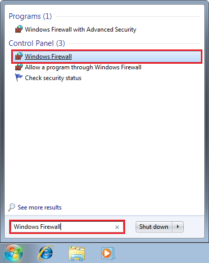 Otvorenie programu Windows Firewall